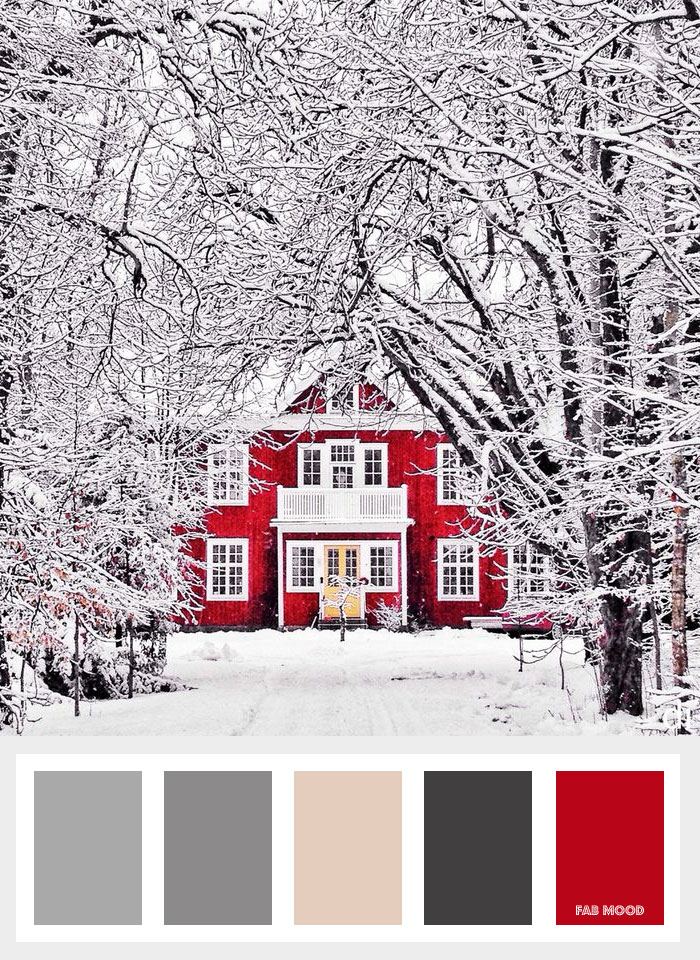 Grey + red and taupe winter colours - Dark winter - Colours that inspire creativity { Beautiful Colour Palettes } fabmood.com - winter colors
