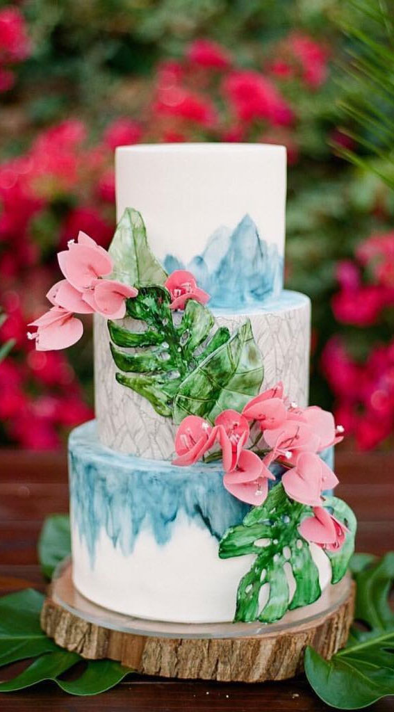 tropical wedding cake, tropical inspired wedding cake, summer wedding cake, wedding cake trends