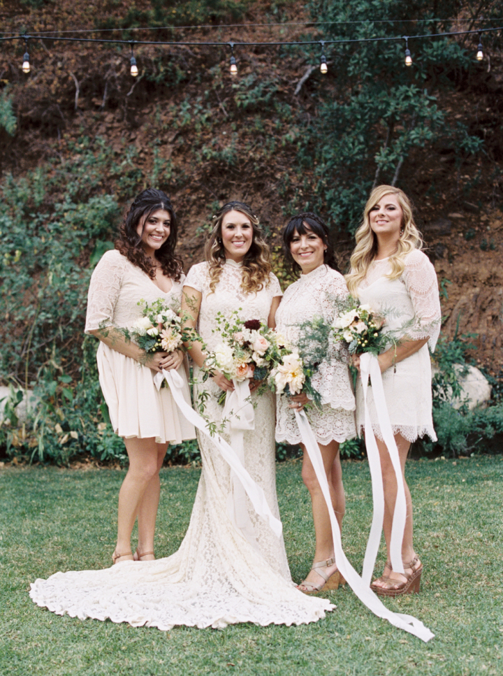 Bohemian meets rustic wedding + bridal party in white lace & lots ...