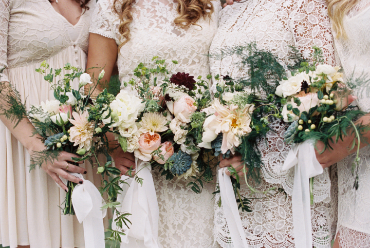 Bohemian Meets Rustic Wedding Bridal Party In White Lace