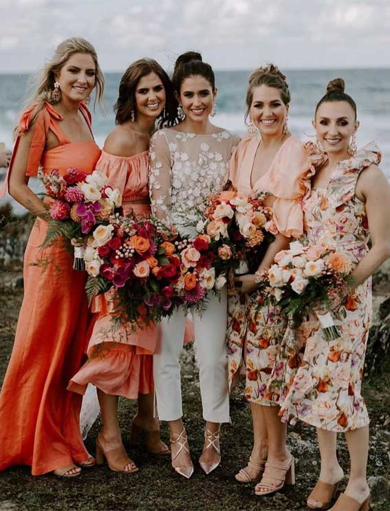 coral wedding attire, bride and bridesmaids , coral mix and match bridesmaid dresses