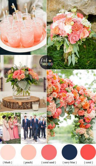 Coral and navy blue wedding inspiration | fabmood.com #weddingcolor #weddingpalette #summerwedding #coralwedding #navybluewedding #coralandnavyblue