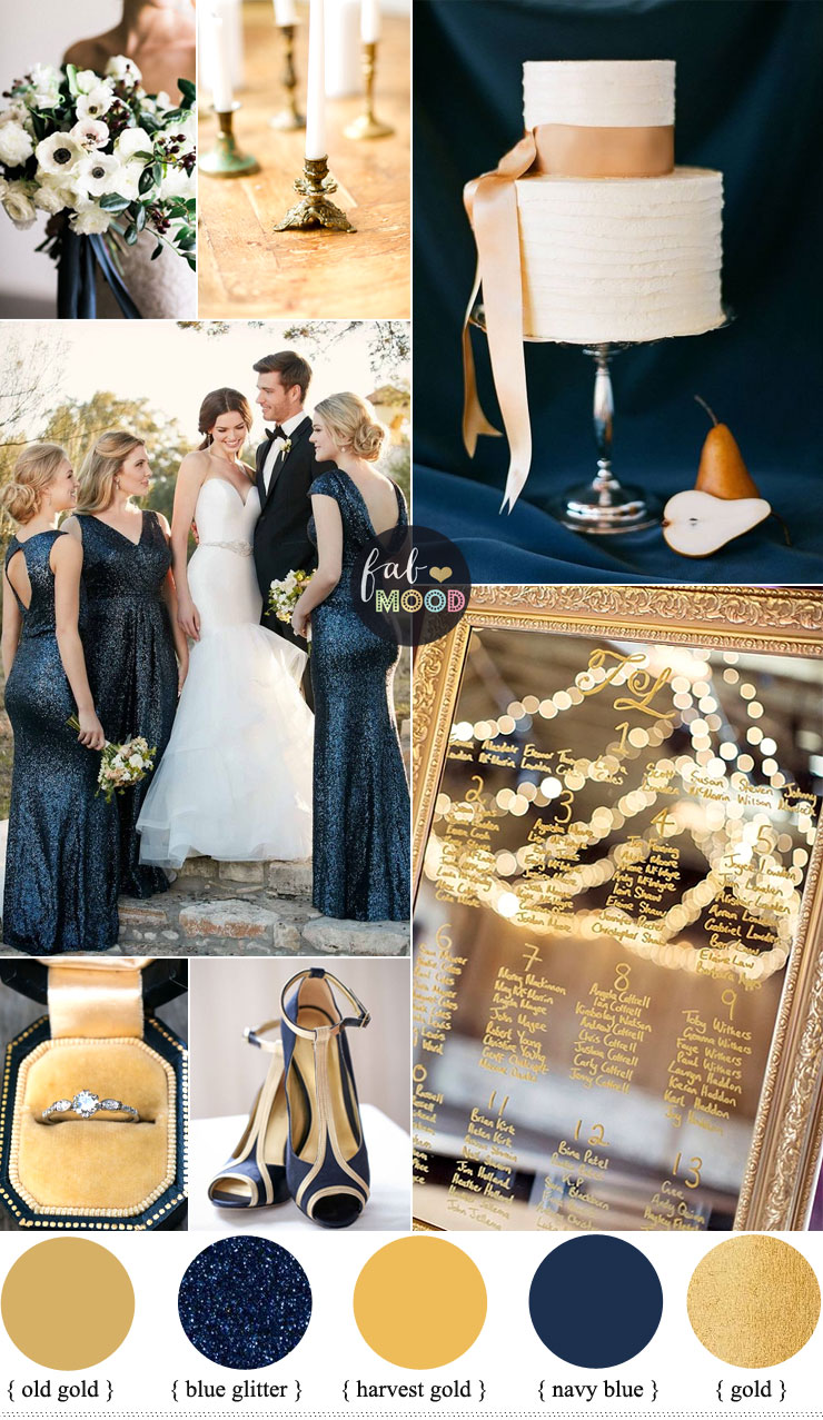 Gold and navy blue wedding color palette for classic for Navy blue wedding theme ideas
