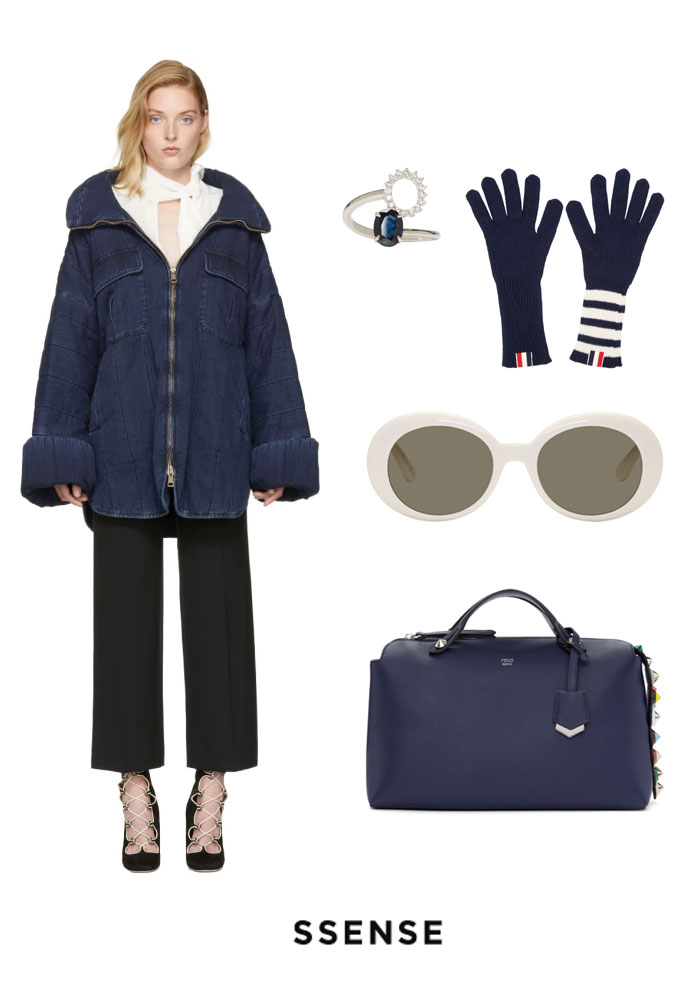 Summer fashion | Blue navy fashion #fashiion #whitesunglasses #bluehandbag