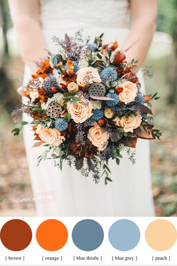 Peach Burnt Orange And Thistle Fall Wedding Bouquet