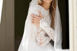 Long sleeve lace wedding dress,winter wedding dress,long sleeve wedding dress for winter wedding