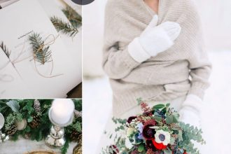 Shades of neutral and maroon for winter wedding