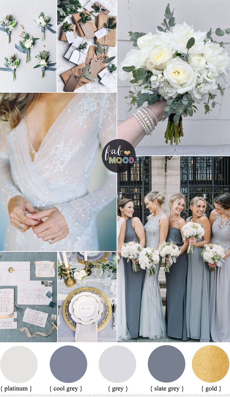 Shades of Grey winter wedding color palette : Winter wedding color scheme - platinum, slate grey and gold winter wedding | fabmood.com #fabmood