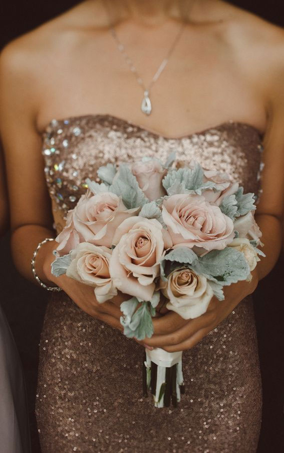 rose gold wedding ideas, rose gold bridesmaid dress
