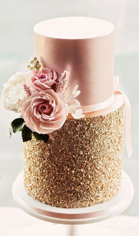 rose gold wedding cake, wedding cake