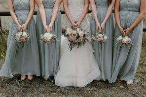 Winter wedding bouquet ,blue grey bridesmaid dresses + neutral winter wedding bouquet ideas