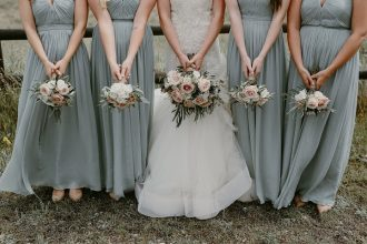 Winter wedding bouquet ,blue grey bridesmaid dresses + neutral winter wedding bouquet ideas