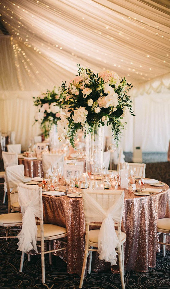 rose gold wedding reception, rose gold wedding table decor
