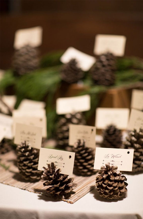 pinecone place card holder, pinecone escort cards