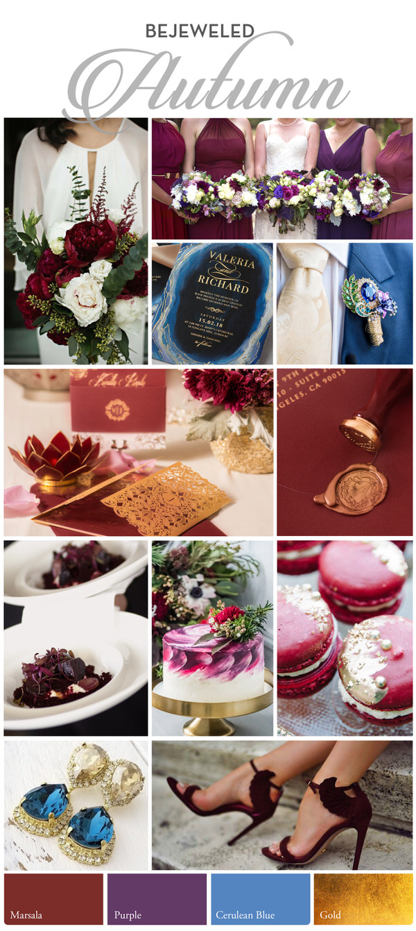 rich and deep maroon and blue, enrichened by opulent touches of gold - Luxe and Moody Autumn Extravaganza
