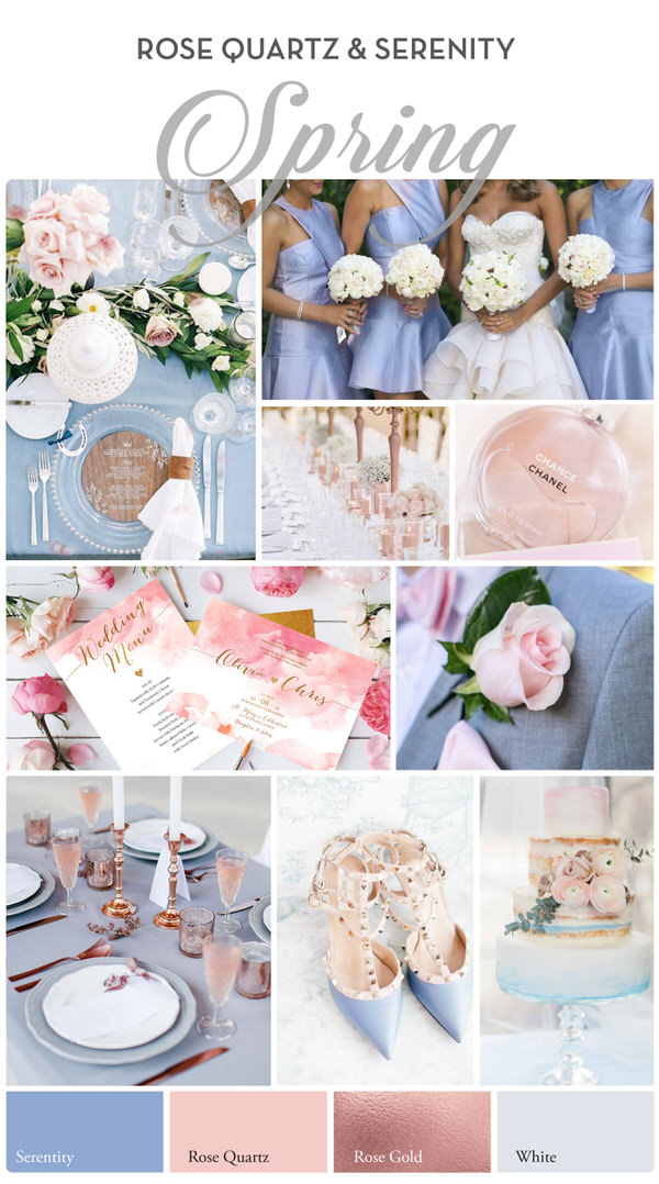 Spring wedding palette : pale pink tones and a gray blue hue
