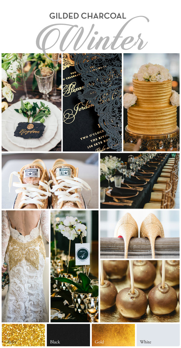 Winter wedding palette : Black and gold wedding color palette