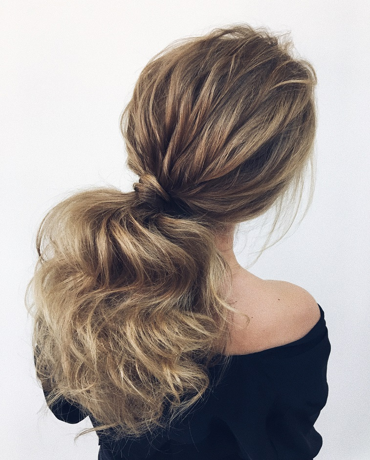 Puff ponytail hairstyles ,low ponytail wedding hairstyles - Wedding Ponytail Hairstyles for the Modern, Romantic wedding #weddinghair #ponytails #wedding #hairstyles #ponytail #weddinghairstyles