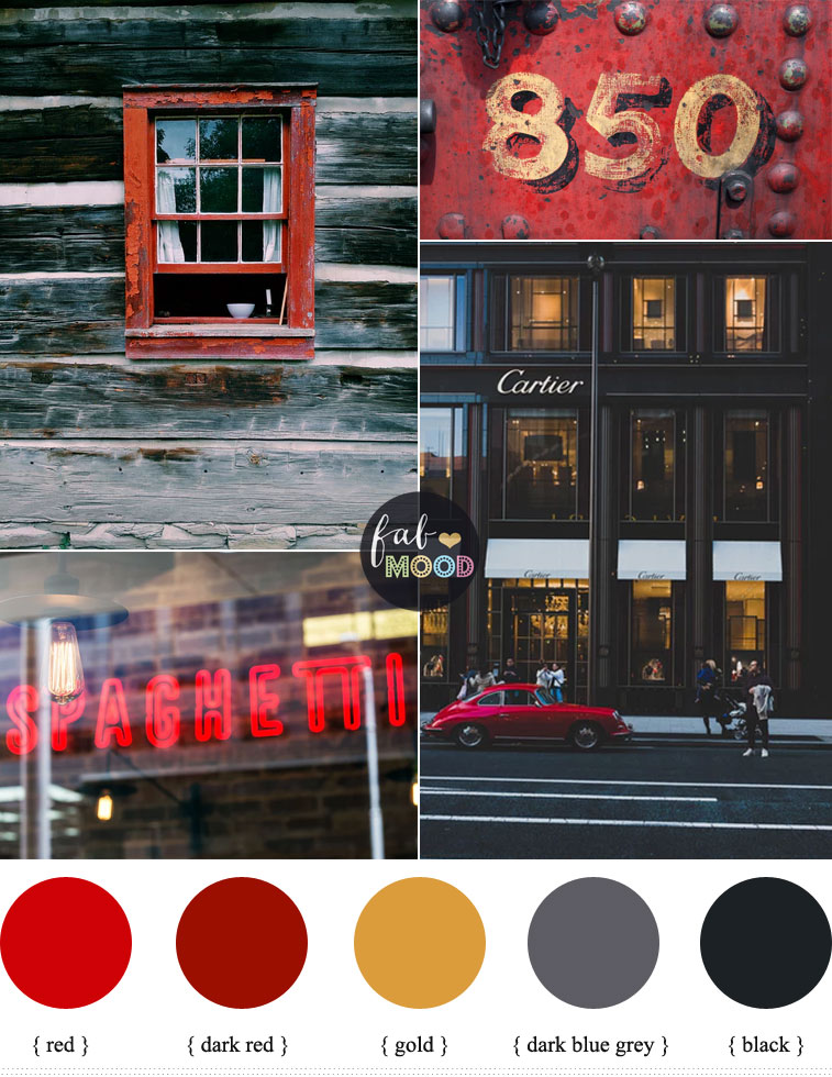 Grey black and red color palette