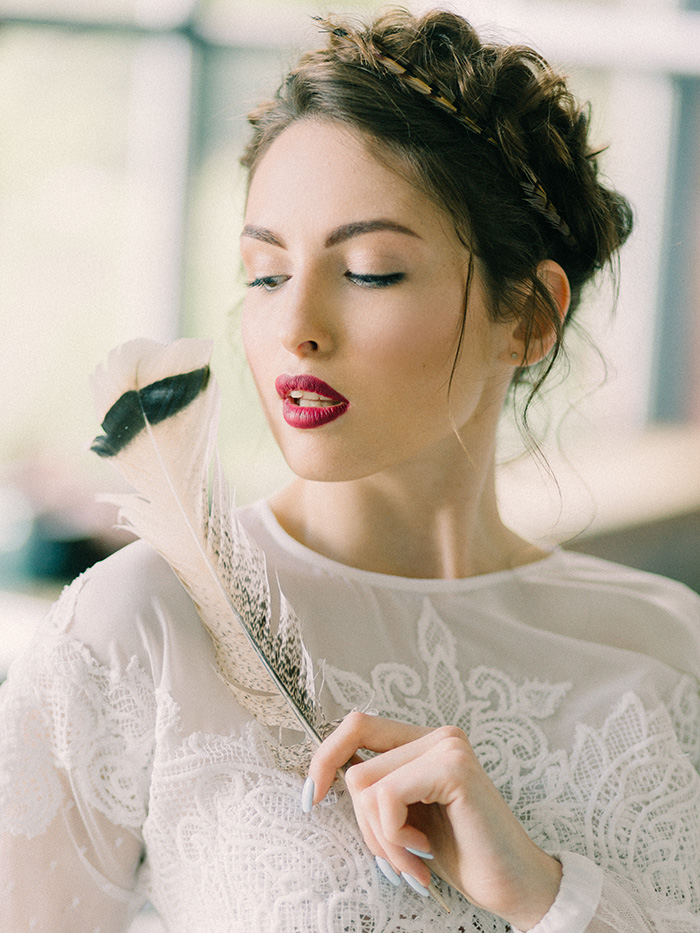 "Wild Bride Wedding Styled Shoot inspired by ""Hunger Games"" #updohairstyle #brideupdo"