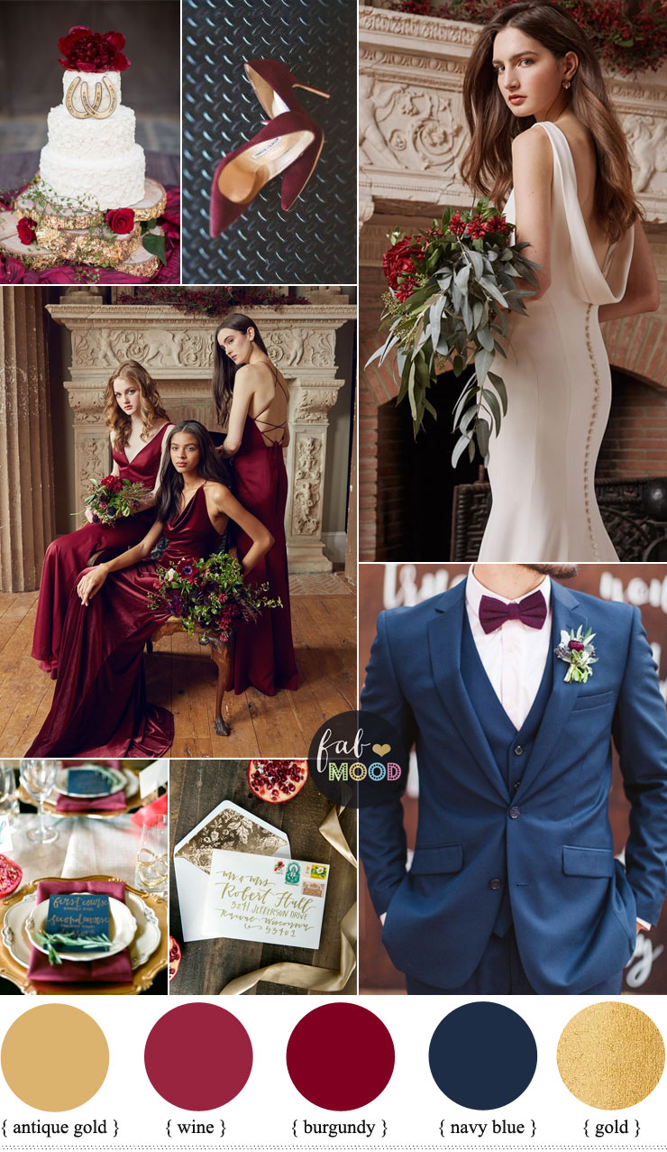 Burgundy gold and navy blue color scheme | fabmood.com #colorpalette #autumnwedding #burgundy #navyblue #colorscheme