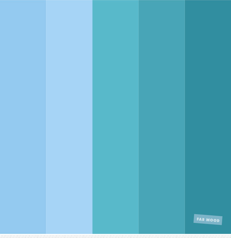 Light Blue , Sky Blue And Green Ocean Color Palette