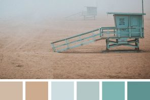 Color Inspiration : Dustry Mint and Sand Taupe #color #colorpalette #colorscheme #beach #fog