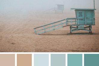 Color Inspiration : Dustry Mint and Sand Taupe #color #colorpalette #colorscheme #beach #fog