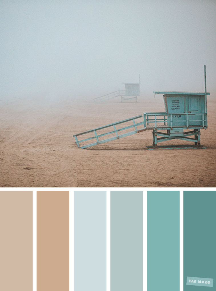 Color Inspiration : Dusty Mint and Sand Taupe #color #colorpalette #colorscheme #beach #fog