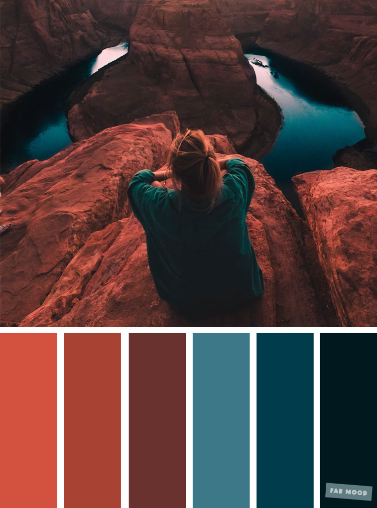 Emerald Teal and Terracotta Color Scheme : Color inspiration #colorpalette #pantone #fabmood #color