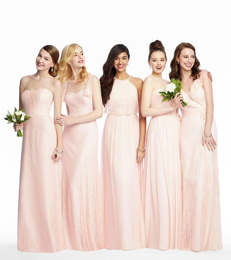 Mix and Match Bridesmaid Dresses in Soft pink #bridesmaiddresses