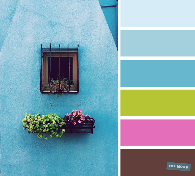 Unusual color palette of different tones : blue hue + bright green + bright pink and brown