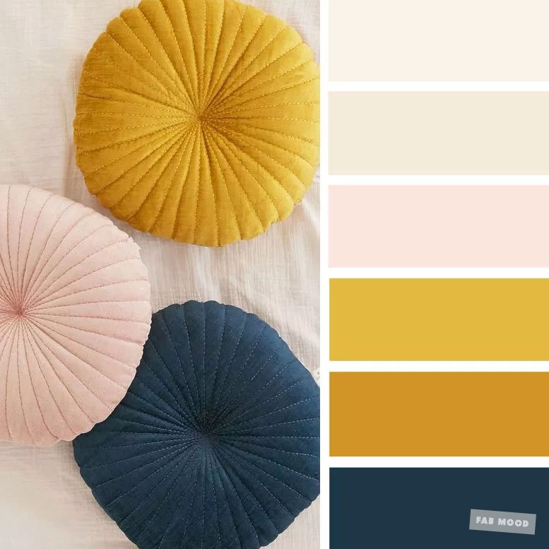 Color inspiration : Blush + Mustard + Navy Blue & Taupe – Color Palette #28