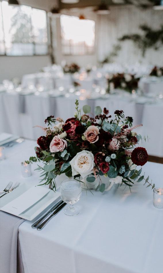 neutral and maroon wedding decor, wedding arch , geometric wedding table decor