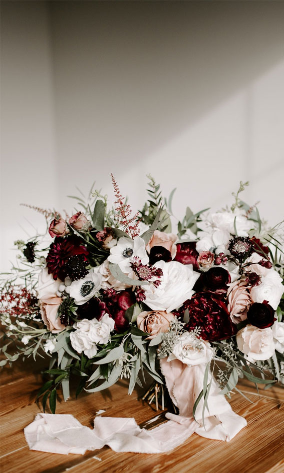 neutral and maroon wedding bouquet, bridal bouquet