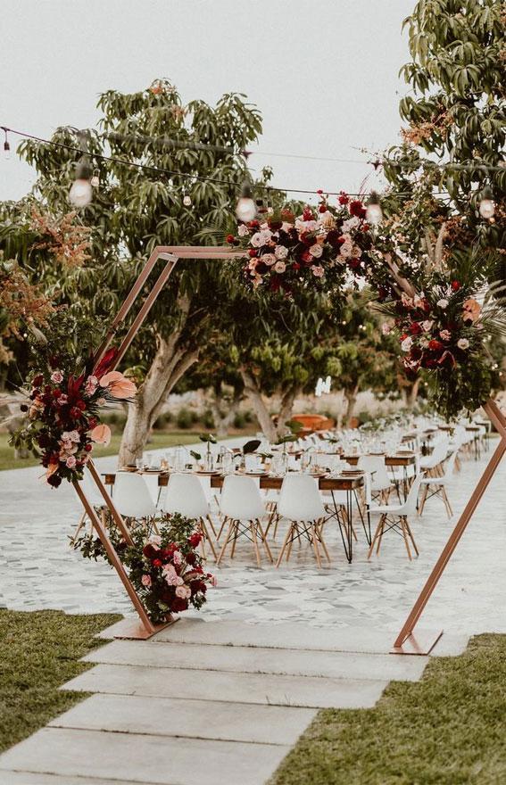 neutral and maroon wedding decor, wedding arch , geometric wedding arch