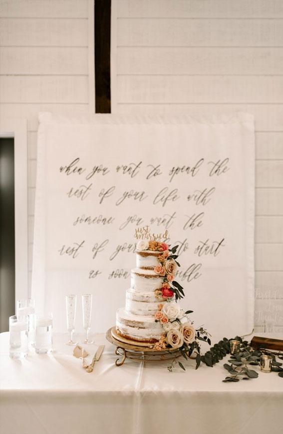 neutral wedding, wedding cake ideas, winter wedding cake, semi naked wedding cake