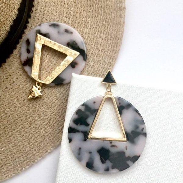 Black and white tortoise shell geometric earrings , statement earrings, acrylic earring,earrings ,earring,tortoise shell earring,geometric earrings,retro earrings