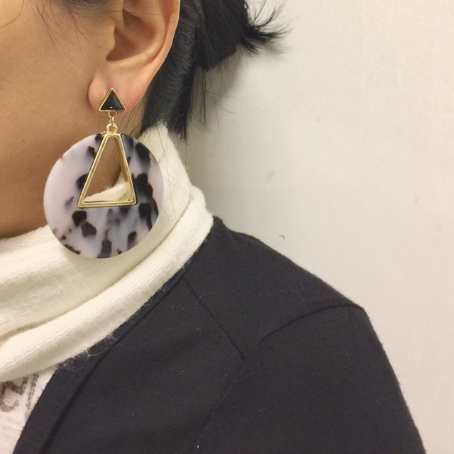 a098596ff Black and white tortoise shell geometric earrings , statement earrings,  acrylic earring,earrings ,