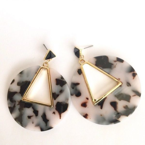 Black and white tortoise shell geometric earrings , statement earrings, acrylic earring,earrings ,earring,tortoise shell earring,geometric earrings,retro earrings