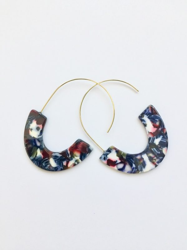Crescent earrings, Geometric earrings, Hoop earrings, Statement earrings, Acrylic earrings, Acetate earrings, , Tortoise earrings, Half moon, u shaped earring,hoop acrylic earrings
