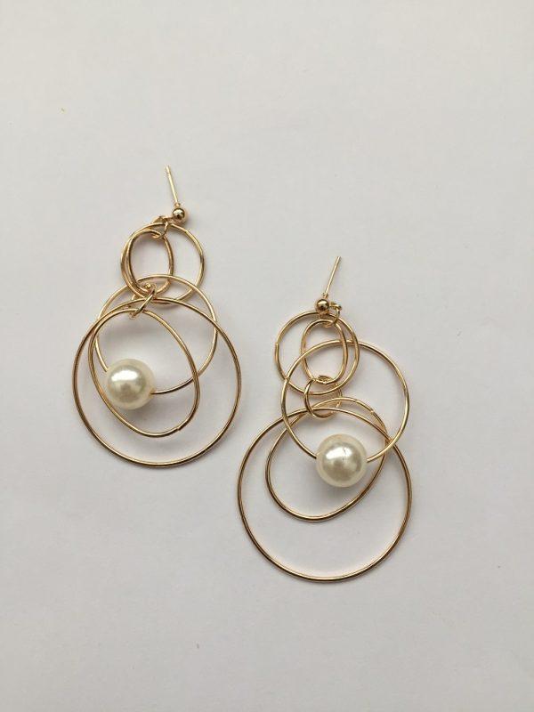 trendy gold alloy faux pearl geometric earrings,gold earrings, gold drop earring,gold drop earrings,faux pearl,alloy earrings, gold earrings,darling earrings