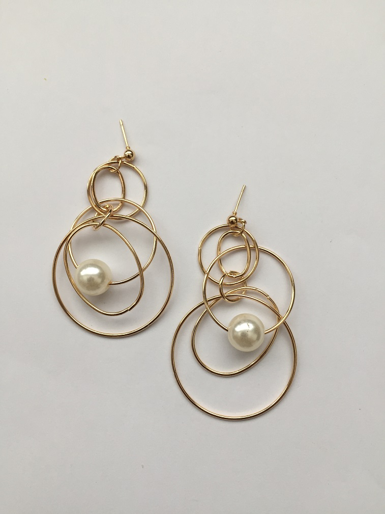 Trendy Gold Alloy Faux Pearl Geometric Earrings Drop Earring