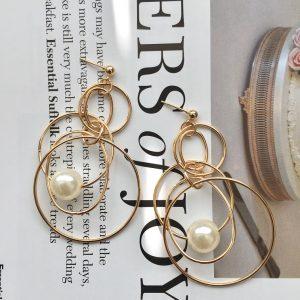 gold faux pearl earrings , drop earrings, gold earrings