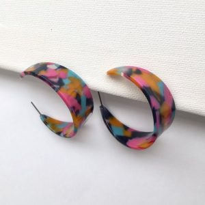 Gorgeous multicolour print hoop earrings, geometric hoop earring