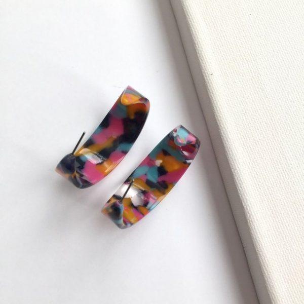 Gorgeous multicolour print hoop earrings, geometric hoop earring
