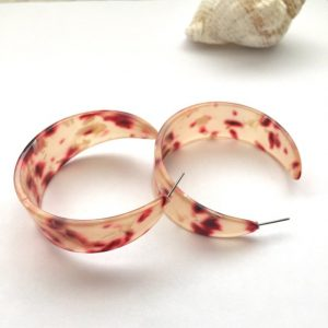 Retro transparent peach and red leopard print faux geometric earring,hoop earrings ,leopard print acrylic earrings, earrings,hoop earrings