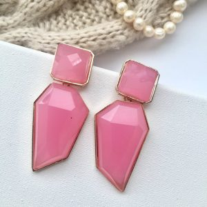 Trendy chunky pink acrylic irregular shape geometric earrings,earring,unique earrings, chunky earring,pink earring,trendy earring,statement earrings
