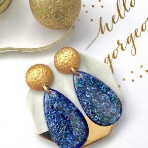 Shimmering blue earrings,blue earring,gold stud blue dangle earrings,blue earring,blue shimmering earring,oval blue earrings,earring,earrings