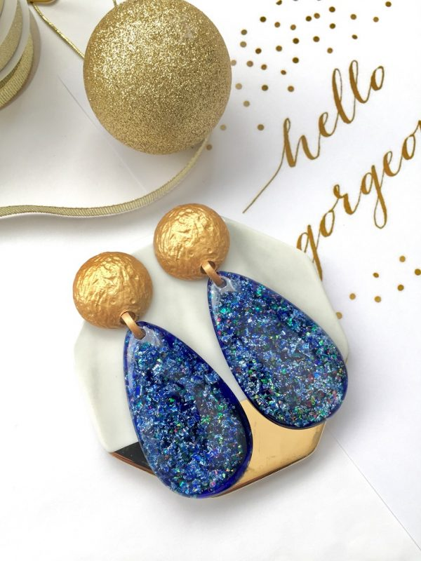Shimmering blue earrings,blue earring,gold stud blue dangle earrings,blue earring,blue shimmering earring,oval blue earrings,earring,earrings